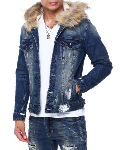 SMOKE RISE - DENIM JACKET W REMOVABLE FAUX FUR HOOD