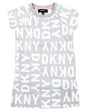 Girls - DKNY Knit Logo Dress W/ Onseam Pockets (4-6X)-2408316