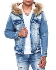 SMOKE RISE - DENIM JACKET W REMOVABLE FAUX FUR HOOD-2408640