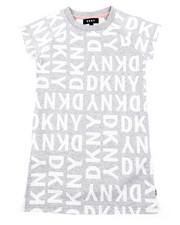 Girls - DKNY Knit Logo Dress W/ Onseam Pockets (7-16)-2408321