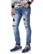 Cote De Nuits - Distressed Jean w Plaid Detail-2408608