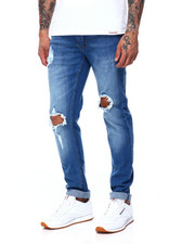 Men - MED BLUE RIPPED JEAN-2407681