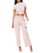 Almost Famous - Set: Rib Hacci Mock Neck S/S Top & Belted Pant-2406265