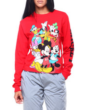 Graphix Gallery - Mickey & Friends L/S Oversized Print Crop Tee-2406294