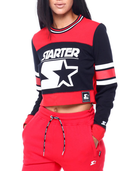 Starter - Color Blocked Cropped Crew Neck Top