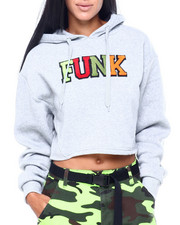 "Women - Chenille ""Funk"" Crop Fleece Hoodie-2408036"
