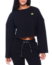 Women - Cropped Crewneck W/Raw Edge-2409181