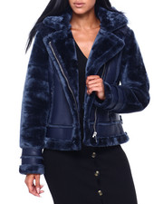 Women - Faux Leather Jacket W/Faux Fur Sleeve & Hood-2409340