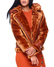 Women - Faux Leather Jacket W/Faux Fur Sleeve & Hood-2409352