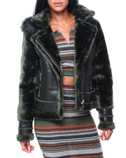 Women - Faux Leather Jacket W/Faux Fur Sleeve & Hood-2409346