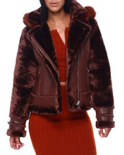 Women - Faux Leather Jacket W/Faux Fur Sleeve & Hood-2409334