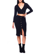 Almost Famous - Set: Surplice Top W/Buttons & Slit Skirt-2408099