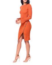 Dresses - Rib L/S Slit Frt Dress W/Horn Buttons-2408040