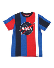 Sizes 8-20 - Big Kids - Oversize Vertical Striped Color Block Tee W/ Chenille Nasa Patch (8-18)-2408865