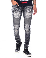 Heritage America - BLACK DISTRESSED MOTO JEAN-2410454