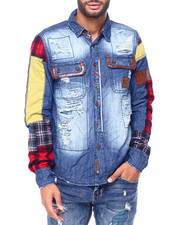 Heritage America - PLAID PATCHWORK AND DENIM BUTTONDOWN SHIRT-2409744