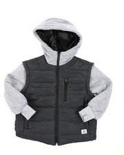 Light Jackets - Bubble Zip-Up Vest Jacket With Fleece Sleeves (4-7)-2409788