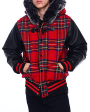 Men - PLAID COAT W FAUX FUR HOOD-2408674