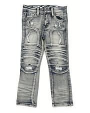 Arcade Styles - Stretch Moto Denim Jeans W/ Cut & Sew Knee Panels (4-7)-2411277