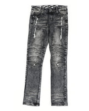 Sizes 8-20 - Big Kids - Stretch Moto Denim Jeans W/ Cut & Sew Knee Panels (8-18)-2411227