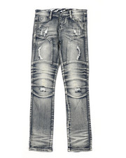 Sizes 8-20 - Big Kids - Stretch Moto Denim Jeans W/ Cut & Sew Knee Panels (8-18)-2411293