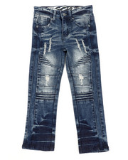 Arcade Styles - Rip & Repaired Stretch Denim Moto Jeans (4-7)-2411234