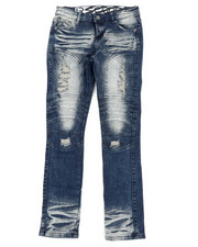 Sizes 8-20 - Big Kids - Stretch Moto Denim Jeans W/ Cut & Sew Knee Panels (8-18)-2411244