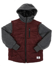 Light Jackets - Bubble Zip-Up Vest Jacket With Fleece Sleeves (8-18)-2411346