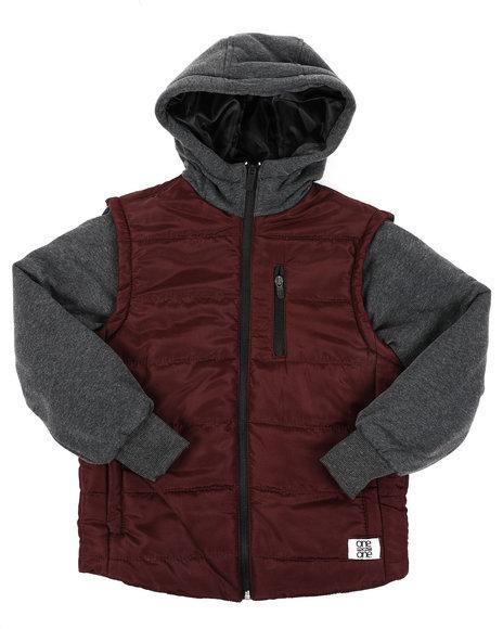 Arcade Styles - Bubble Zip-Up Vest Jacket With Fleece Sleeves (8-18)