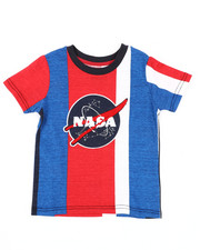 Tops - Oversize Vertical Striped Color Block Tee W/ Chenille Nasa Patch (4-7)-2410850