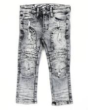 Arcade Styles - Stretch Moto Denim Jeans W/ Cut & Sew Knee Panels (2T-4T)-2411517