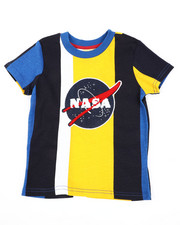 Arcade Styles - Oversize Vertical Striped Color Block Tee W/ Chenille Nasa Patch (4-7)-2410845