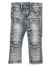 Arcade Styles - Stretch Moto Denim Jeans W/ Cut & Sew Knee Panels (2T-4T)-2411521