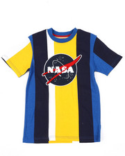 Arcade Styles - Oversize Vertical Striped Color Block Tee W/ Chenille NASA Patch (8-18)-2410839