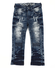 Arcade Styles - Rip & Repaired Stretch Denim Moto Jeans (2T-4T)-2411525