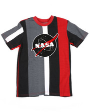 Arcade Styles - Oversize Vertical Striped Color Block Tee W/ Chenille Nasa Patch (8-18)-2410834