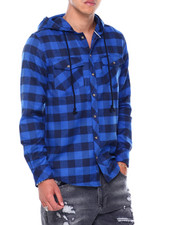 Button-downs - LS Hooded Flannel Button down Shirt-2412224