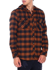 Button-downs - LS Hooded Flannel Button down Shirt-2412235