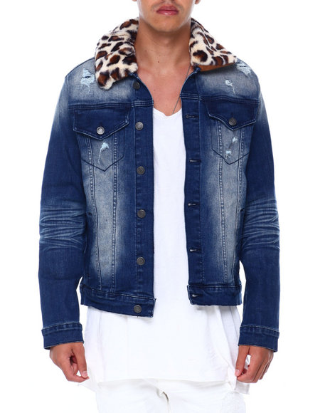 SMOKE RISE - Faux Fur Collar Denim Jacket
