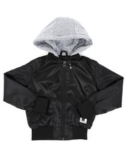 Light Jackets - Poly Taffeta Zip Up Bomber Jacket W/ Fleece Hood (2T-4T)-2411394