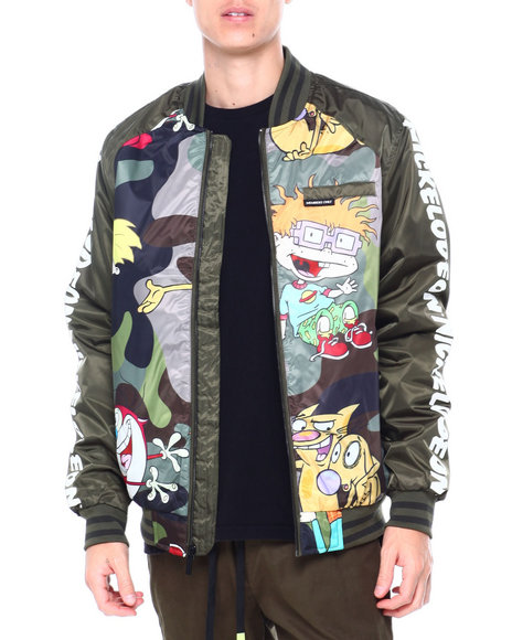 Members Only - NICKELODEON MASH UP CAMO CAMO PRINT VARSITY JACKET