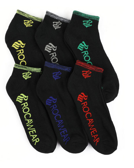 Rocawear - 6 Pack Quarter Half Cushioned Socks