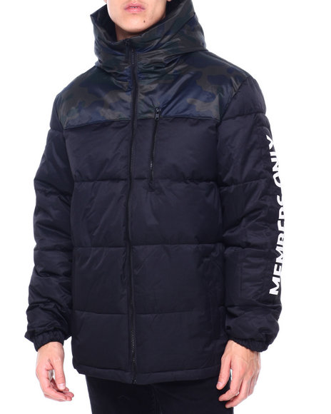Members Only - QUILTED HOODED PUFFER JACKET W SLEEVE HIT