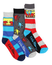 Keith Haring - 3 Pack Barking Dogs Crew Socks-2412864