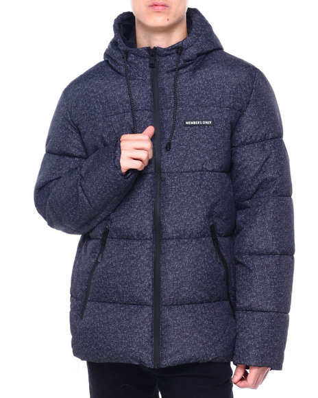 Members Only - TEXTURED PUFFER HOODED JACKET