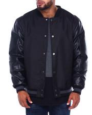 Outerwear - Ballistic Nylon Textured PU Varcity Jacket W/ Print Lining (B&T)-2413546