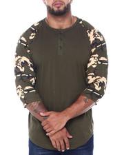 Henleys - Men's 3/4 Raglan Sleeve Henley T-Shirt (B&T)-2412935