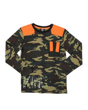 SWITCH - Camo Printed Long Sleeve TeeW/ Nylon Detail (8-20)-2412921