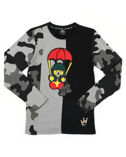 Tops - Camo Cut & Sew Long Sleeve Tee W/ Chenille Patch (8-20)-2412880