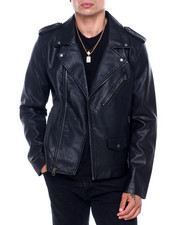 Leather Jackets - FAUX LEATHER MOTO JACKET-2415225